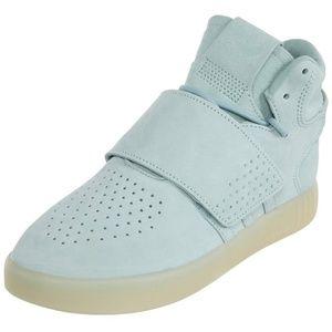 Adidas Light Blue Tubular Invader Strap Sneakers
